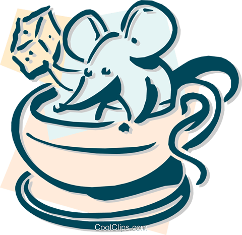 mouse with a coffee and sugar cube Royalty Free Vector Clip Art illustration anim1892