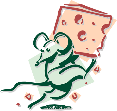 mouse running with cheese concept Royalty Free Vector Clip Art illustration anim1895