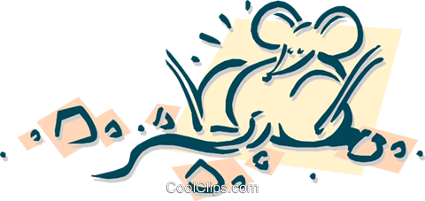 mouse gorged on cheese bits Royalty Free Vector Clip Art illustration anim1899