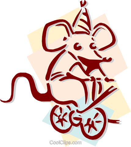 circus mouse peddling bicycle concept Royalty Free Vector Clip Art illustration anim1915