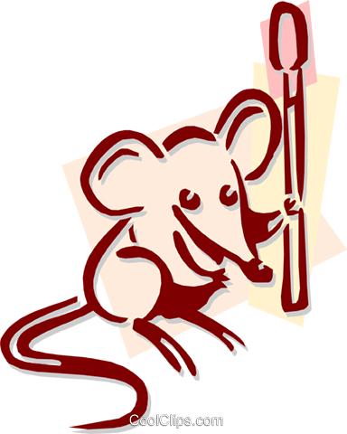 mouse with a match stick concept Royalty Free Vector Clip Art illustration anim1919