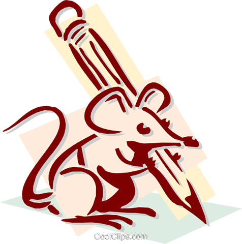 mouse with a pencil concept Royalty Free Vector Clip Art illustration anim1921