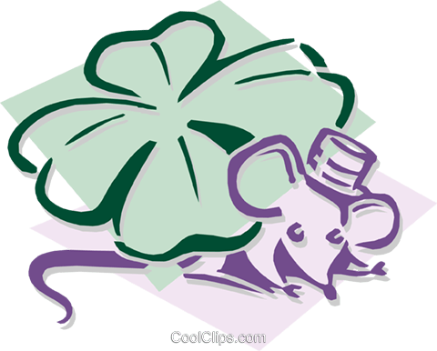 mouse with a shamrock concept Royalty Free Vector Clip Art illustration anim1926