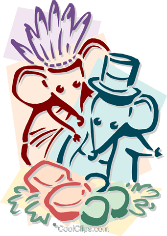 mice celebrating Thanksgiving Royalty Free Vector Clip Art illustration anim1928
