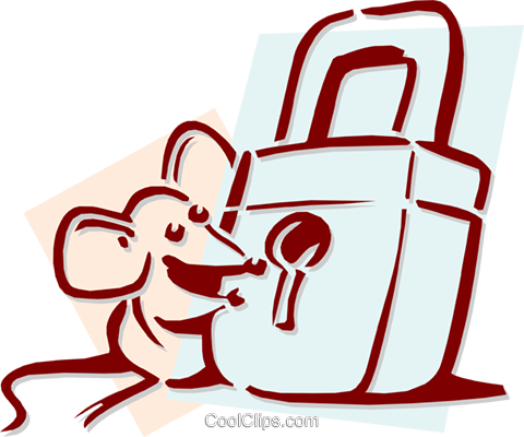 mouse with a lock concept Royalty Free Vector Clip Art illustration anim1933