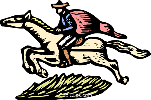 Man on horseback Royalty Free Vector Clip Art illustration anim1936