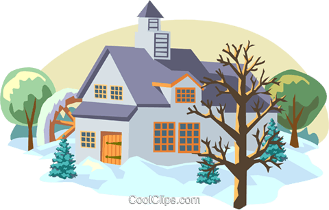 winter scene Royalty Free Vector Clip Art illustration arch0462