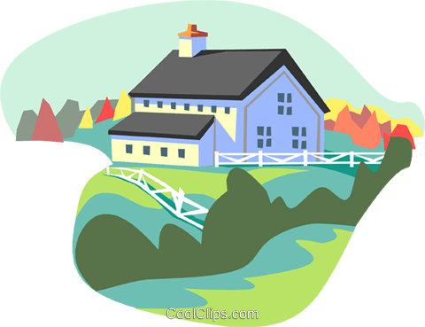 farm scene Royalty Free Vector Clip Art illustration arch0463