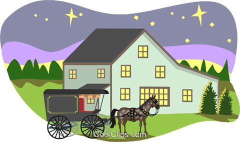 farm scene Royalty Free Vector Clip Art illustration arch0464