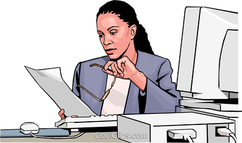 woman at computer Royalty Free Vector Clip Art illustration peop3026