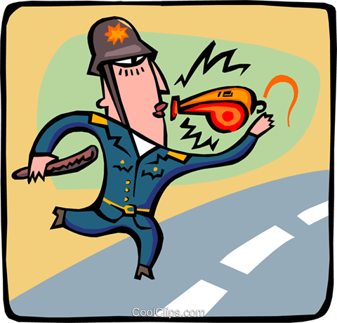 policeman with a whistle Royalty Free Vector Clip Art illustration peop3041