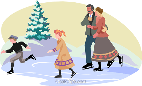 turn of the century skaters Royalty Free Vector Clip Art illustration peop3050