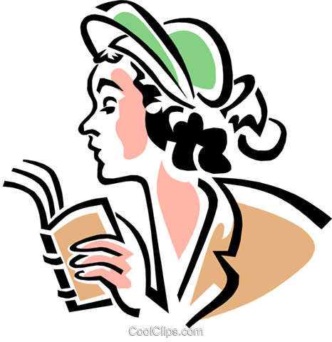 woman with book Royalty Free Vector Clip Art illustration peop3056