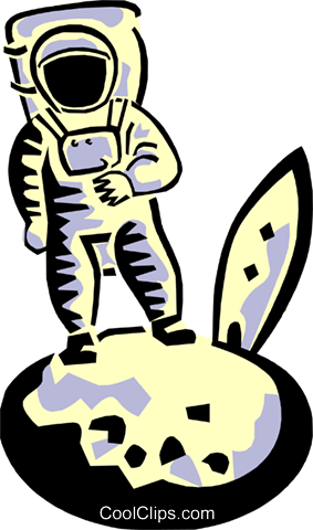Astronaut on the moon Royalty Free Vector Clip Art illustration peop3058