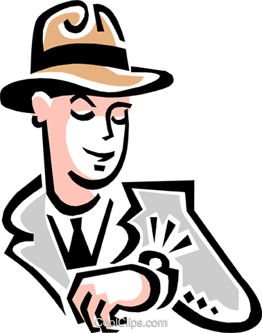man looking at watch Royalty Free Vector Clip Art illustration peop3060