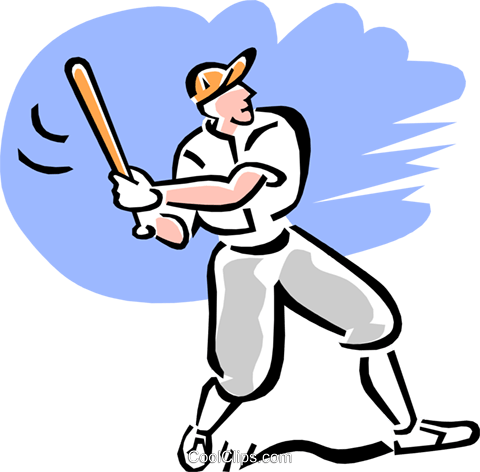Baseball player at bat Royalty Free Vector Clip Art illustration peop3062
