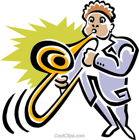 man with trombone Royalty Free Vector Clip Art illustration peop3065