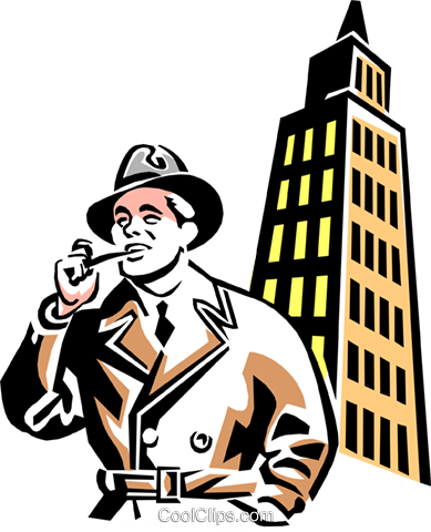 man with a pipe and office tower Royalty Free Vector Clip Art illustration peop3068
