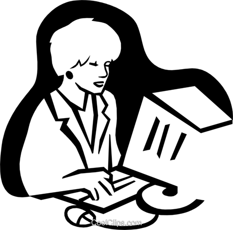 woman at computer Royalty Free Vector Clip Art illustration peop3072
