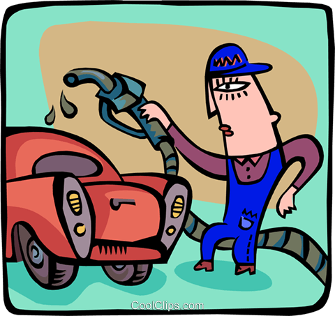 man with gas pump Royalty Free Vector Clip Art illustration peop3074