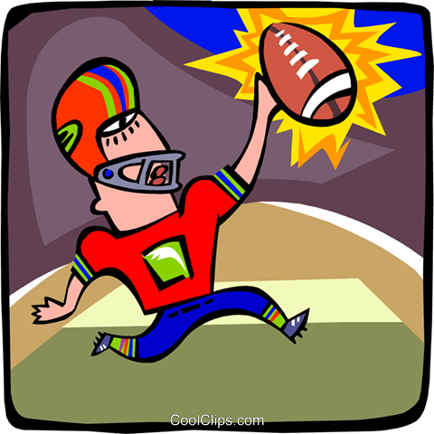 Football player celebrating touchdown Royalty Free Vector Clip Art illustration peop3080
