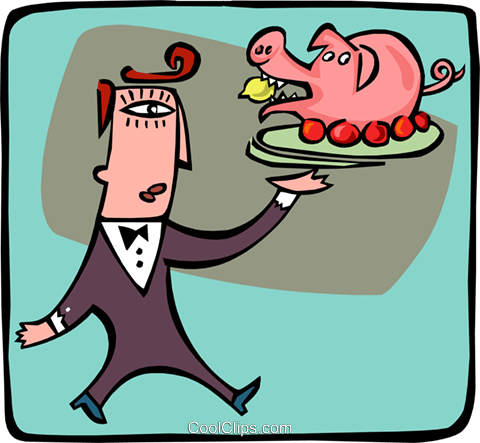 man serving a pig Royalty Free Vector Clip Art illustration peop3082