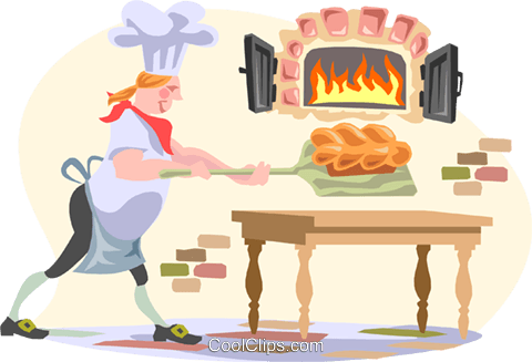 man baking bread Royalty Free Vector Clip Art illustration peop3085