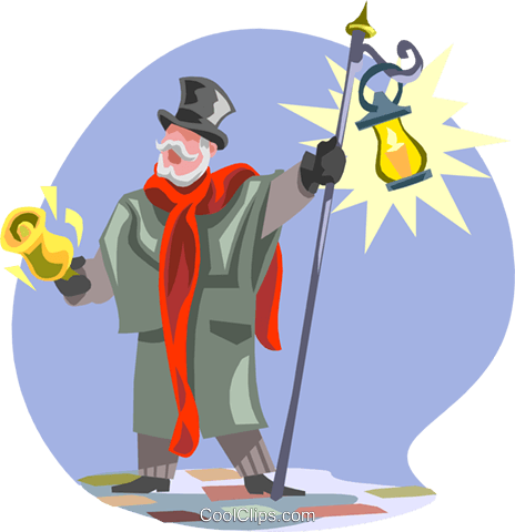 town crier with bell and light Royalty Free Vector Clip Art illustration peop3086