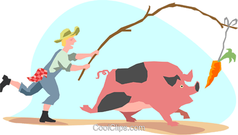 man with a pig chasing a carrot Royalty Free Vector Clip Art illustration peop3088