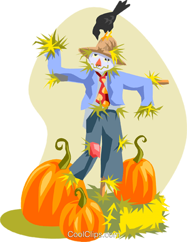 Scare crow with pumpkins Royalty Free Vector Clip Art illustration spec0264