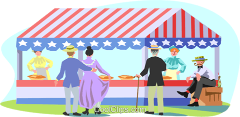 People enjoying day at the fair Royalty Free Vector Clip Art illustration spec0265