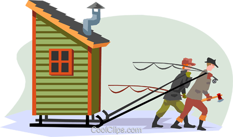 the winter ice-fishing shack Royalty Free Vector Clip Art illustration spor0364