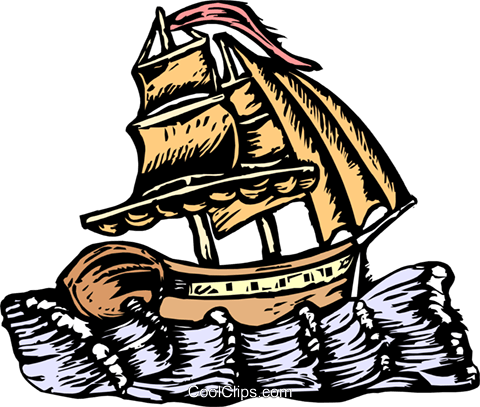 Ship/woodcut style Royalty Free Vector Clip Art illustration tran0921