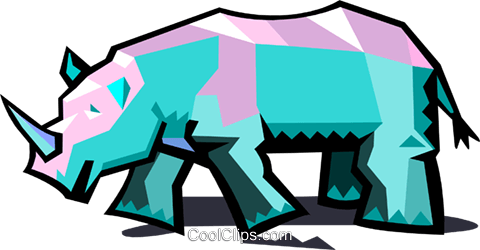 rhinoceros Royalty Free Vector Clip Art illustration anim1941