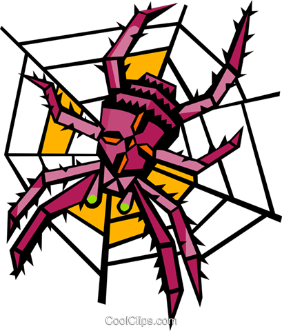 spider on a web Royalty Free Vector Clip Art illustration anim1948