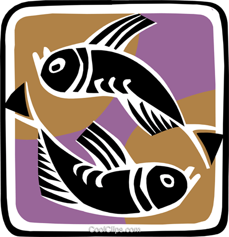 symbolic fish Royalty Free Vector Clip Art illustration anim1956