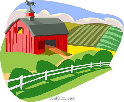Farm scene with barn Royalty Free Vector Clip Art illustration arch0465