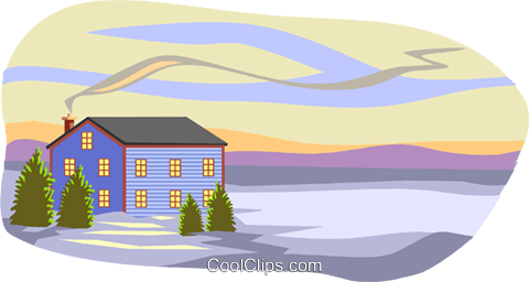 winter scene with house Royalty Free Vector Clip Art illustration arch0466