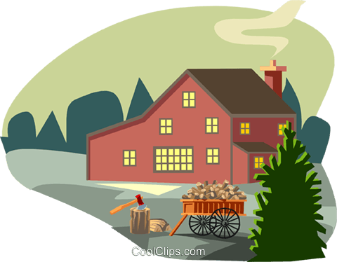 rural scene with farmhouse and wood cart Royalty Free Vector Clip Art illustration arch0467