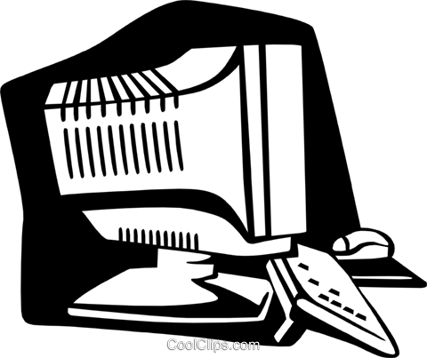 computer monitor Royalty Free Vector Clip Art illustration busi1565
