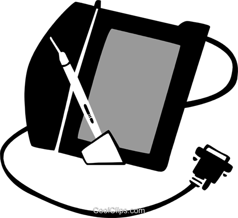 drawing tablet with pen Royalty Free Vector Clip Art illustration busi1566