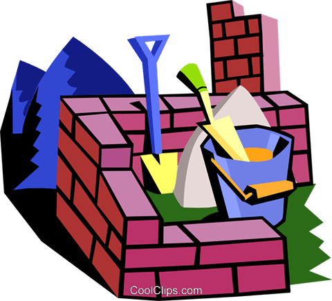 brick wall with construction tools Royalty Free Vector Clip Art illustration indu0887