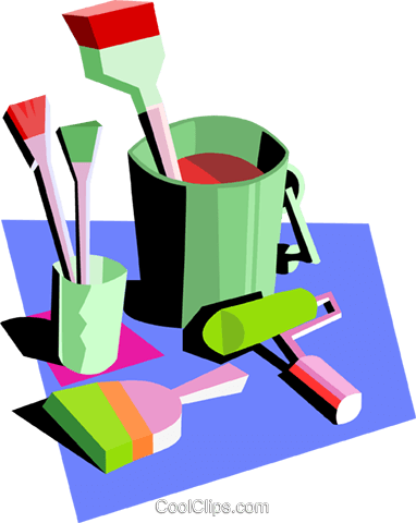 painter's tools Royalty Free Vector Clip Art illustration indu0888