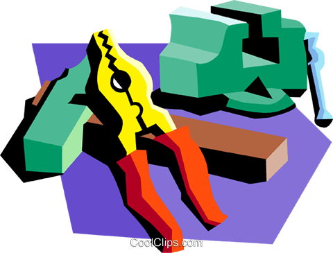 vice with pliers Royalty Free Vector Clip Art illustration indu0892