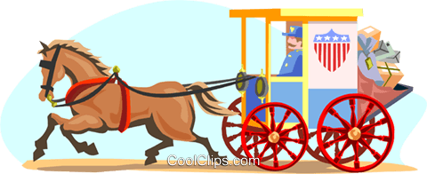 horse drawn mail carriage Royalty Free Vector Clip Art illustration peop3093