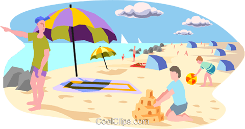 day at the beach Royalty Free Vector Clip Art illustration peop3095