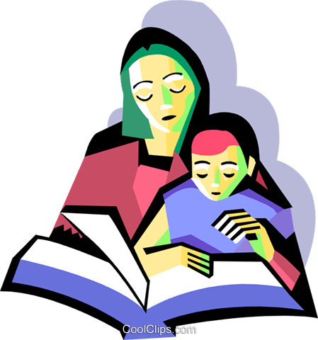 Mother with child reading Royalty Free Vector Clip Art illustration peop3096