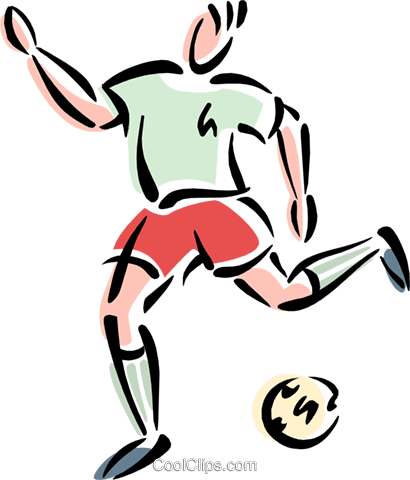 Soccer player kicking ball Royalty Free Vector Clip Art illustration peop3106