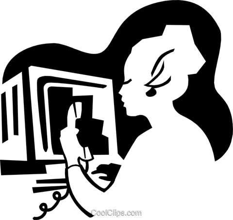 woman at computer Royalty Free Vector Clip Art illustration peop3114