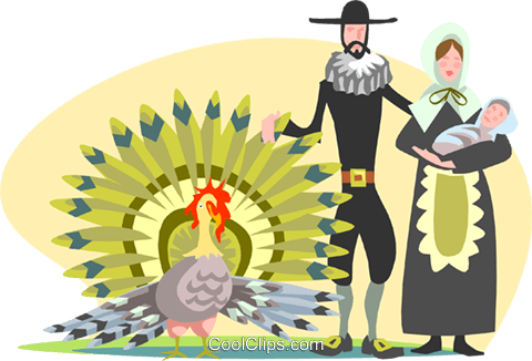 Pioneers with wild turkey Royalty Free Vector Clip Art illustration spec0267